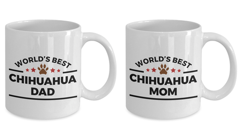 World's Best Chihuahua Mom and Dad Ceramic Couples Mug Set of 2 -Great Gift for Dog Lovers