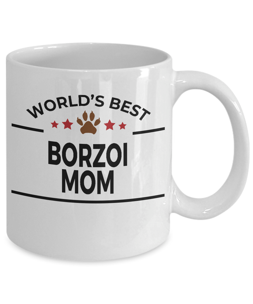 Borzoi Dog Lover Gift World's Best Mom Birthday Mother's Day White Ceramic Coffee Mug