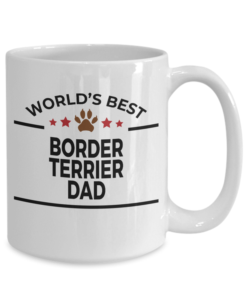 Border Terrier Dog Lover Gift World's Best Dad Birthday Father's Day White Ceramic Coffee Mug