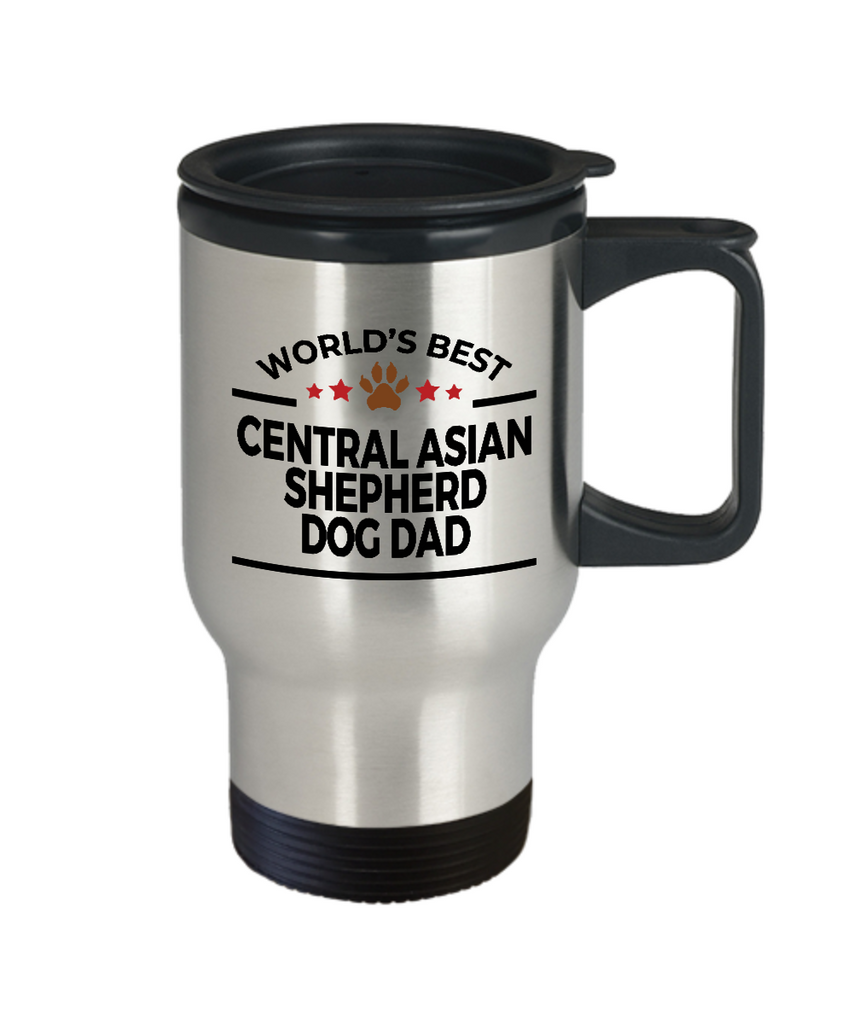 Central Asian Shepherd Dog Lover Gift World's Best Dad Birthday Father's Day Stainless Steel Insulated Travel Coffee Mug