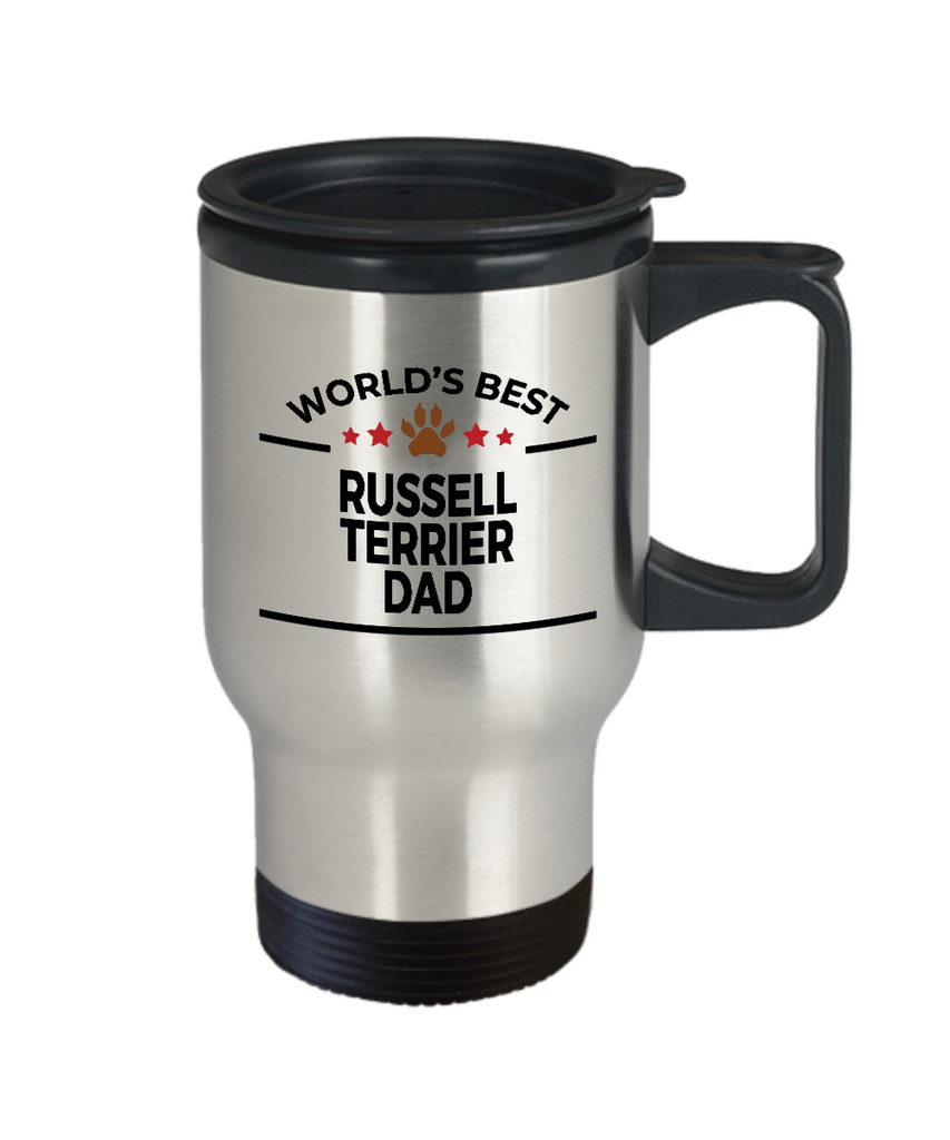 Russell Terrier Dog Lover Gift World's Best Dad Birthday Father's Day Stainless Steel Insulated Travel Coffee Mug