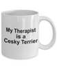 Cesky Dog Owner Lover Funny Gift Therapist White Ceramic Coffee Mug