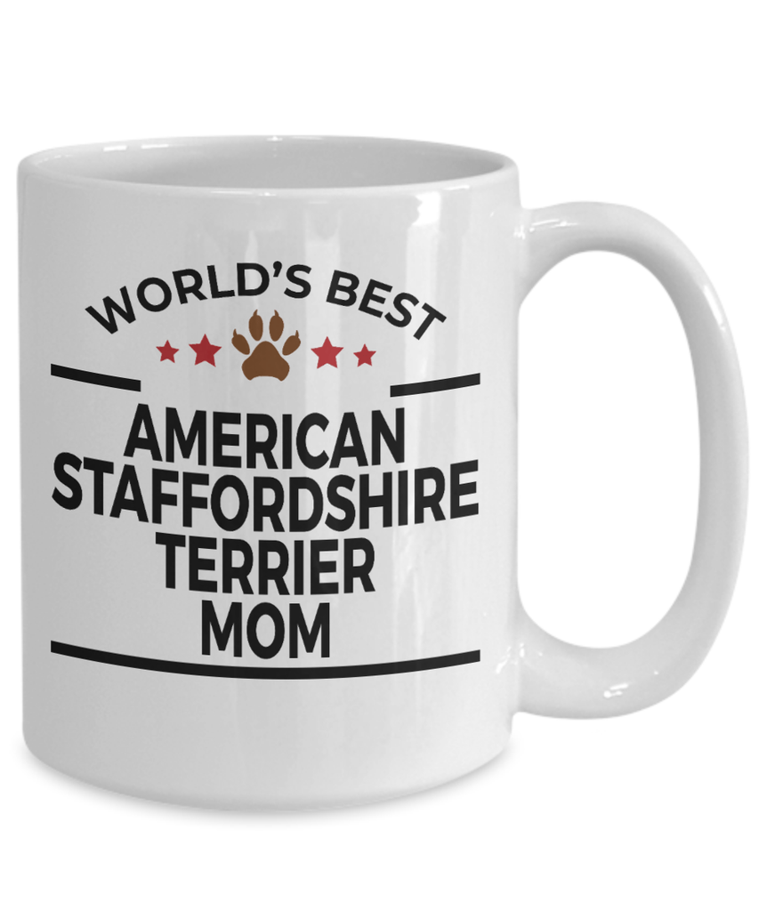 American Staffordshire Terrier Dog Lover Gift World's Best Mom Birthday Mother's Day White Ceramic Coffee Mug