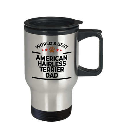 American Hairless Terrier Dog Lover Gift World's Best Dad Birthday Father's Day Stainless Steel Insulated Travel Coffee Mug