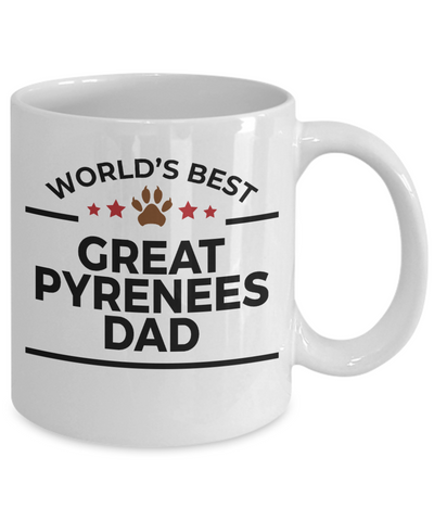 Great Pyrenees Dog Lover Gift World's Best Dad Birthday Father's Day White Ceramic Coffee Mug