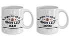 Shih Tzu Dog Dad and Mom Coffee Mug Set of 2