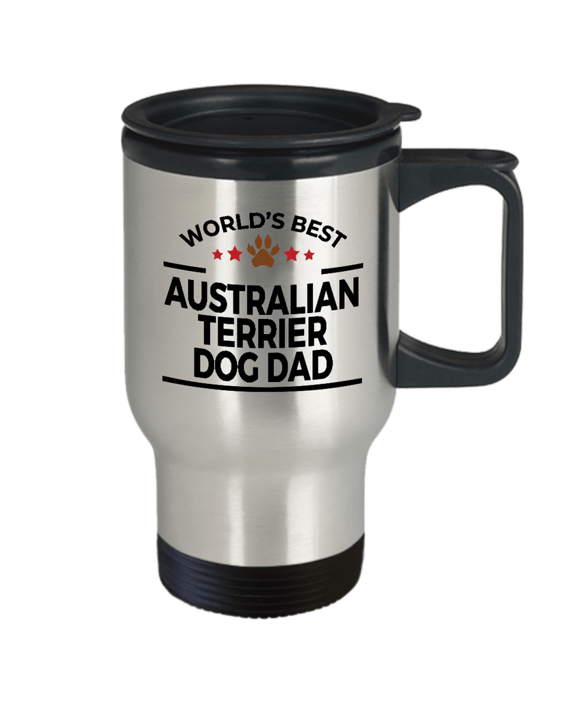 Australian Terrier Dog Lover Gift World's Best Dad Birthday Father's Day Stainless Steel Insulated Travel Mug