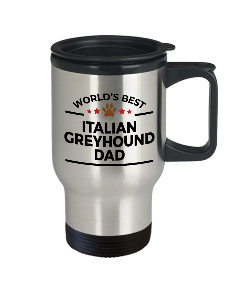 Italian Greyhound Dog Lover Gift World's Best Dad Birthday Father's Day Stainless Steel Insulated Travel Coffee Mug