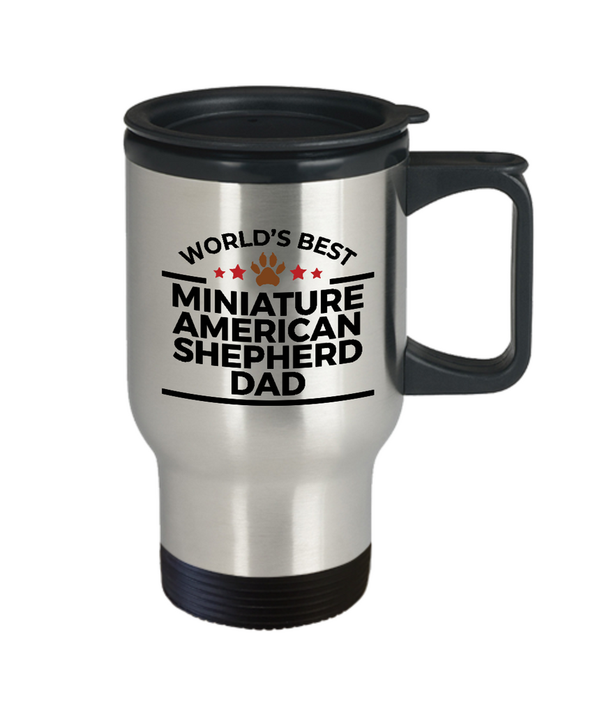 Miniature American Shepherd Dog Lover Gift World's Best Dad Birthday Father's Day Stainless Steel Insulated Travel Coffee Mug