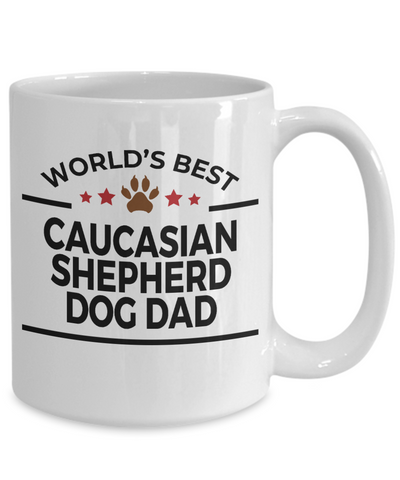 Caucasian Shepherd Dog Lover Gift World's Best Dad Birthday Father's Day White Ceramic Coffee Mug