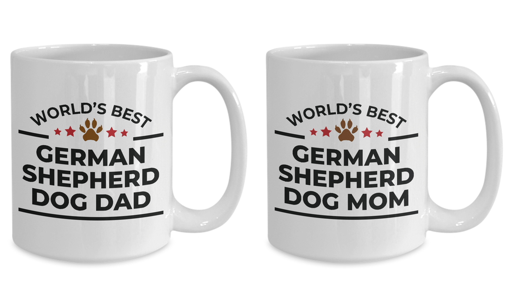 World's Best German Shepherd Dog Mom and Dad Couple White Ceramic Mugs- Set of 2