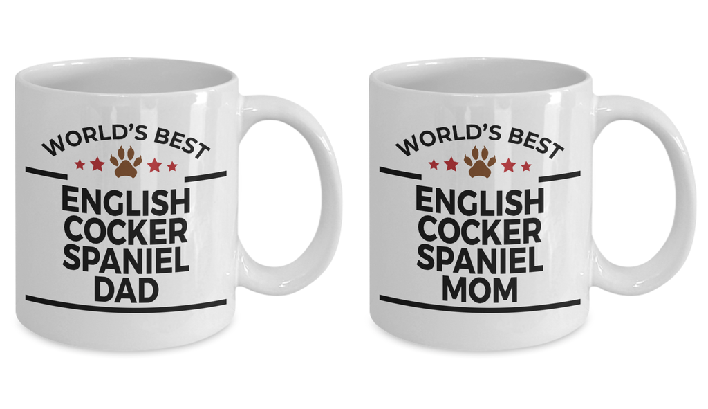 English Cocker Spaniel Dad and Mom Couples Mug - Set of 2 - His and Hers