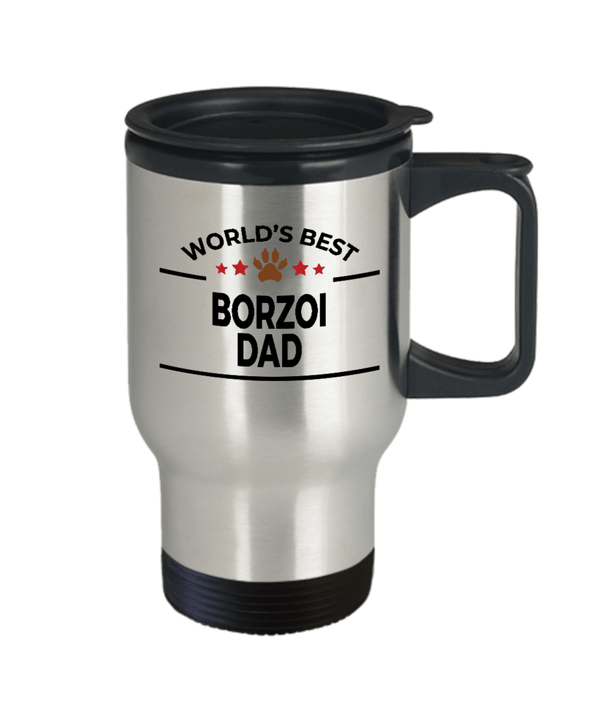 Borzoi Dog Lover Gift World's Best Dad Birthday Father's Day Stainless Steel Insulated Travel Coffee Mug
