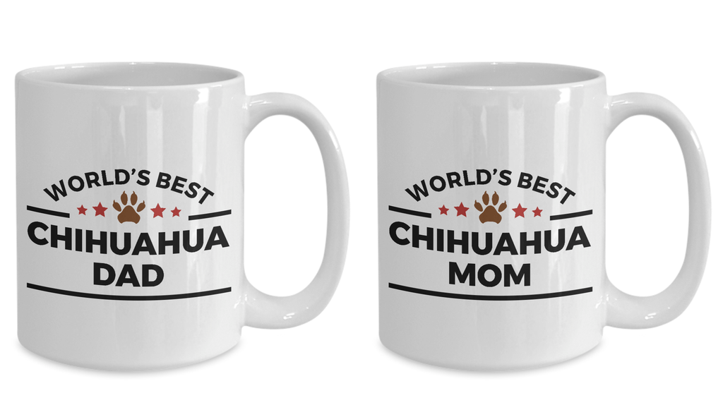 World's Best Chihuahua Mom and Dad Couples Mug Set of 2