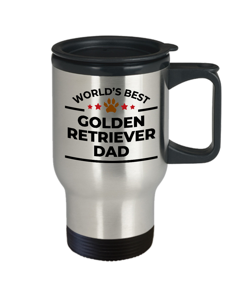 Golden Retriever Dog Lover Gift World's Best Dad Birthday Father's Day Stainless Steel Insulated Travel Coffee Mug