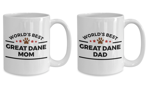 Great Dane Dog Lover Coffee Mug Gift World's Best Dad or Mom Couple Set of 2 Cups