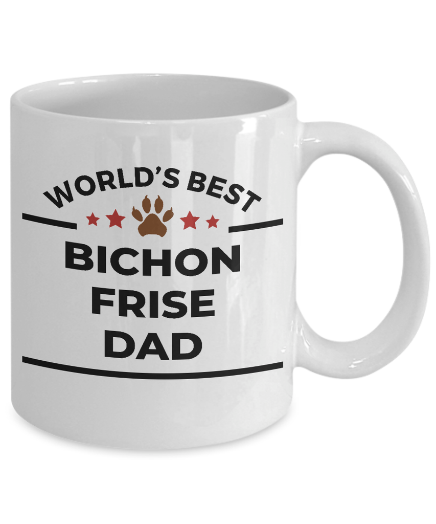 Bichon Frise Dog Lover Gift World's Best Dad Birthday Father's Day White Ceramic Coffee Mug