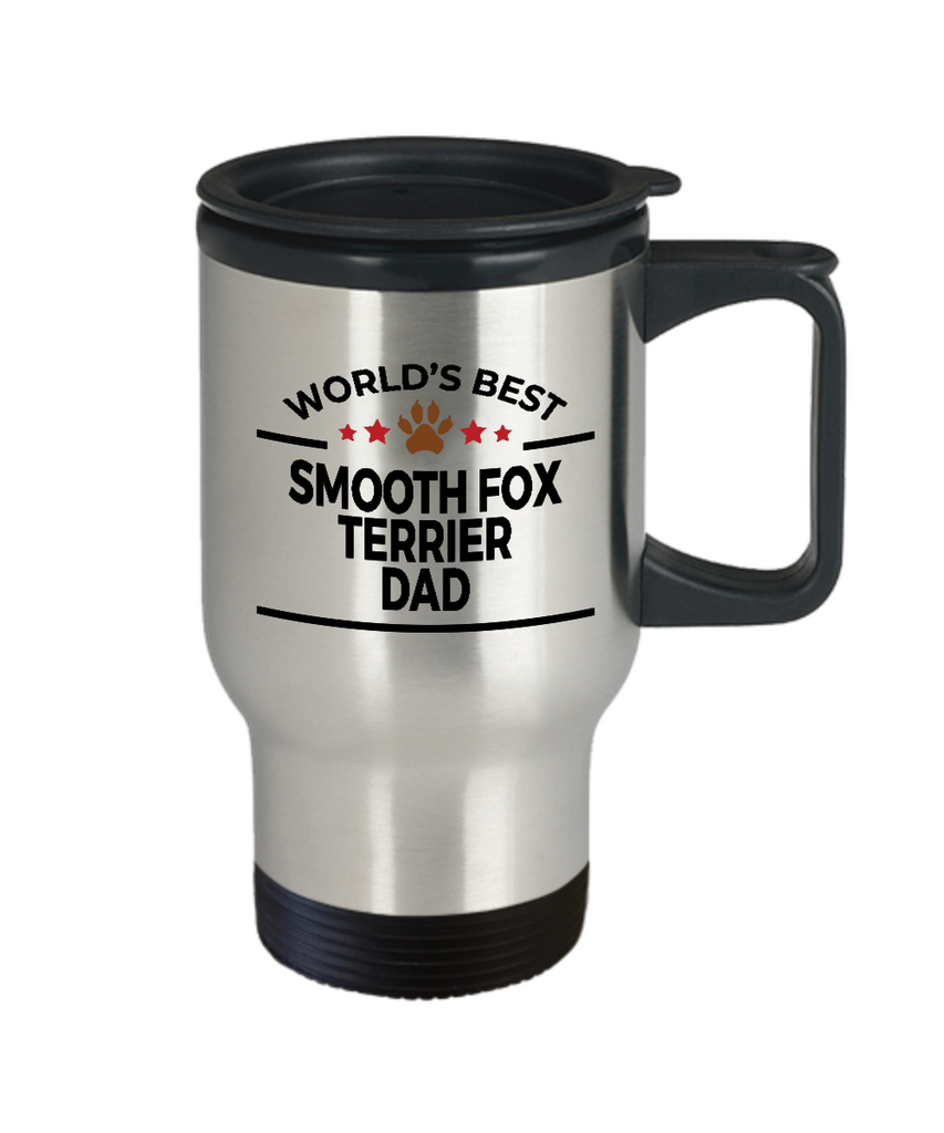 Smooth Fox Terrier Dog Lover Gift World's Best Dad Birthday Father's Day Stainless Steel Insulated Travel Coffee Mug