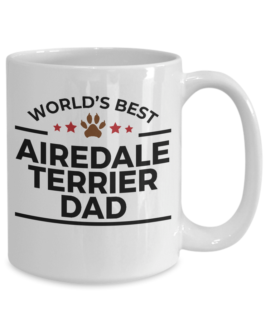 Airedale Terrier Dog Lover Gift World's Best Dad Birthday Father's Day White Ceramic Coffee Mug