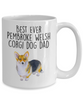 Best Ever Tricolor Pembroke Welsh Corgi Dog Dad Ceramic Coffee Mug