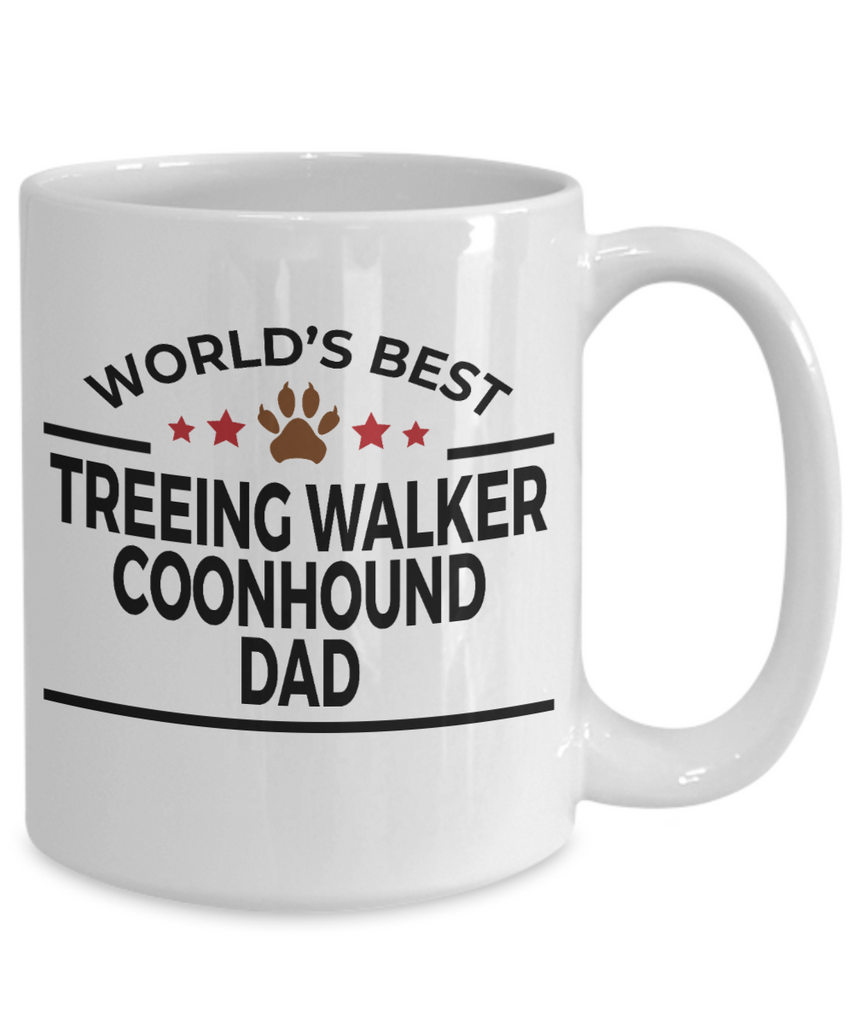 Treeing Walker Coonhound Dog Lover Gift World's Best Dad Birthday Father's Day White Ceramic Coffee Mug