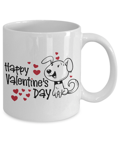 Happy Valentine's Day Coffee Mug With Cute Puppy and Hearts