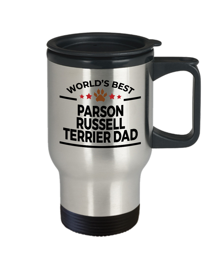 Parson Russell Terrier Dog Lover Gift World's Best Dad Birthday Father's Day Stainless Steel Insulated Travel Coffee Mug