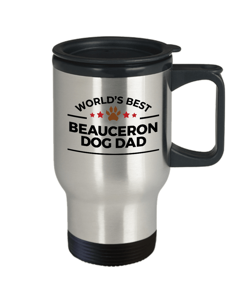 Beauceron Dog Lover Gift World's Best Dad Birthday Father's Day Stainless Steel Insulated Travel Coffee Mug