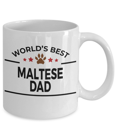 Maltese Dog Lover Gift World's Best Dad Birthday Father's Day White Ceramic Coffee Mug