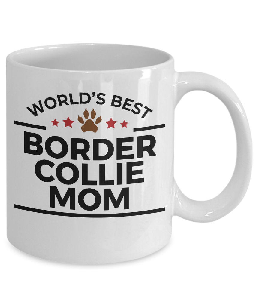 Border Collie Dog Lover Gift World's Best Mom Birthday Mother's Day White Ceramic Coffee Mug