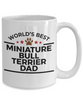 Miniature Bull Terrier Dog Lover Gift World's Best Dad Birthday Father's Day White Ceramic Coffee Mug