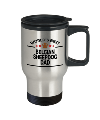 Belgian Sheepdog Dog Lover Gift World's Best Dad Birthday Father's Day Stainless Steel Insulated Travel Coffee Mug