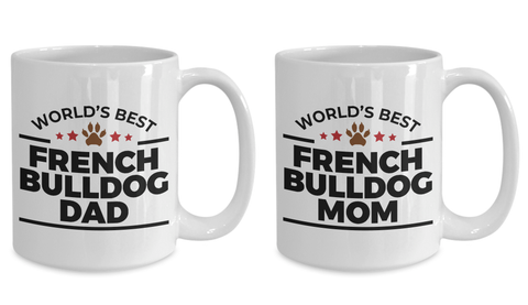 World's Best French Bulldog Mom and Dad Couples Ceramic Mugs - Set of 2