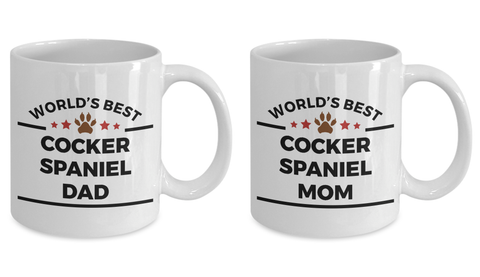 Cocker Spaniel Dog Dad and Mom Coffee Mug Set of two