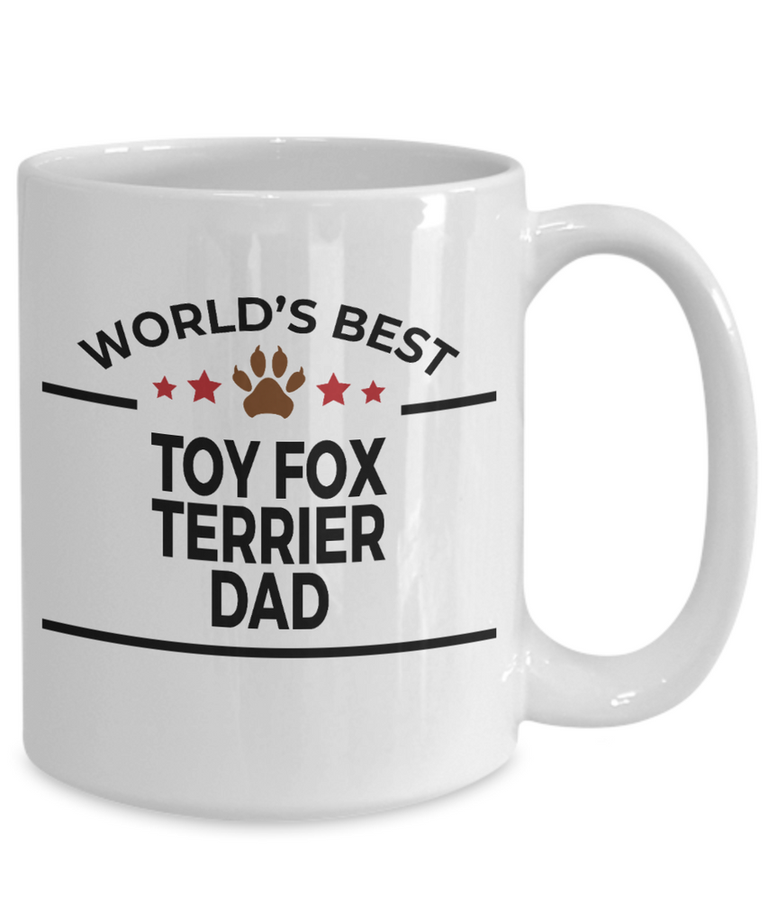 Toy Fox Terrier Dog Lover Gift World's Best Dad Birthday Father's Day White Ceramic Coffee Mug