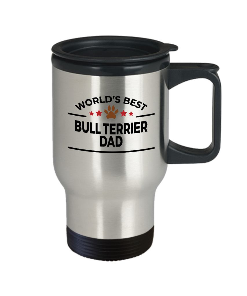 Bull Terrier Dog Lover Gift World's Best Dad Birthday Father's Day Stainless Steel Insulated Travel Coffee Mug
