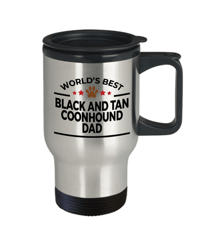 Black and Tan Coonhound Dog Lover Gift World's Best Dad Birthday Father's Day Stainless Steel Insulated Travel Coffee Mug