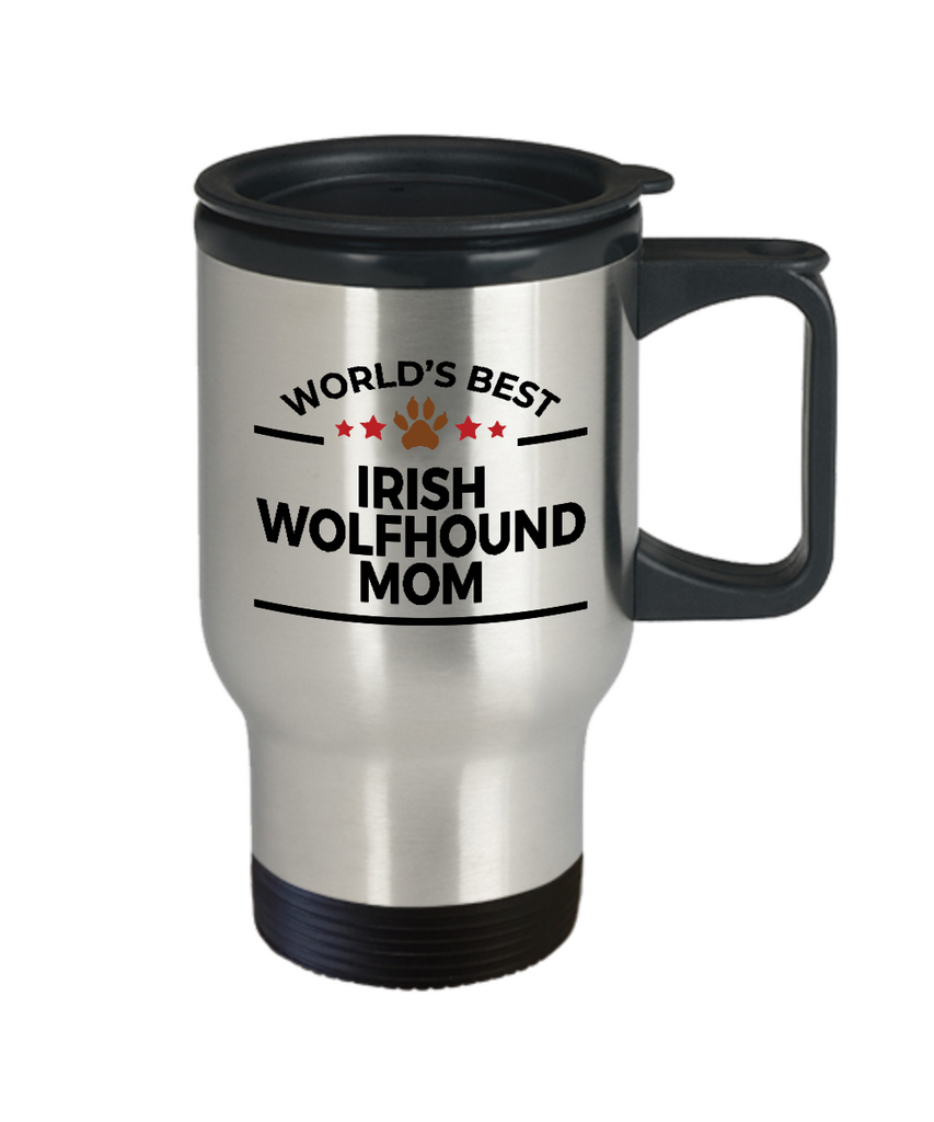 Irish Wolfhound Dog Lover Gift World's Best Mom Birthday Mother's Day Stainless Steel Insulated Travel Coffee Mug