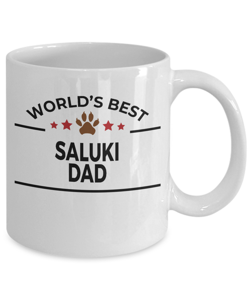 Saluki Dog Lover Gift World's Best Dad Birthday Father's Day White Ceramic Coffee Mug