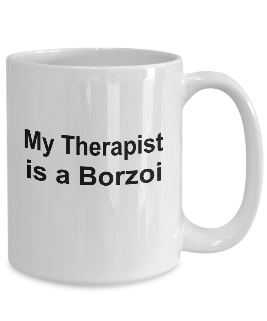 Borzoi Dog Owner Lover Funny Gift Therapist White Ceramic Coffee Mug