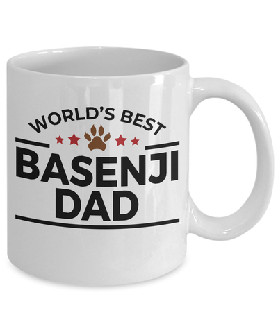 Basenji Dog Lover Gift World's Best Dad Birthday Father's Day White Ceramic Coffee Mug