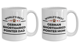 German Shorthaired Pointer Dog Lover Gift World's Best Dad and Mom Birthday Mother's Father's Day Anniversary Ceramic Coffee Mug Set of 2