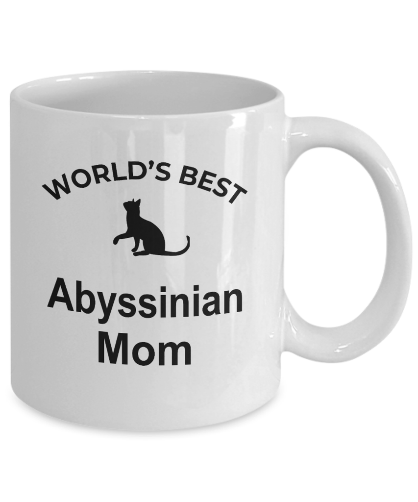Abyssinian Cat Lover Gift World's Best Mom Birthday Mother's Day White Ceramic Coffee Mug