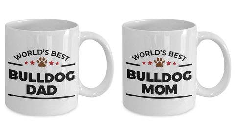 World's Best Bulldog Dad and Mom Couple Ceramic Mug - Set of 2 His and Hers