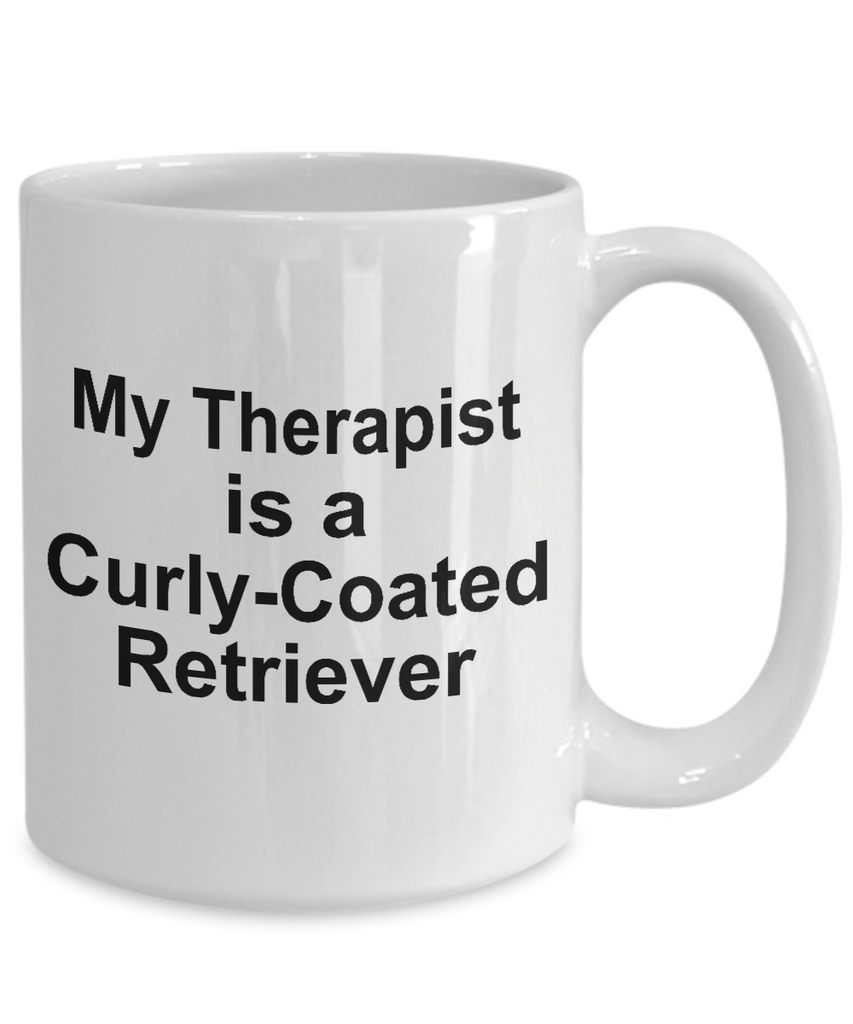 Curly-Coated Retriever Dog Owner Lover Funny Gift Therapist White Ceramic Coffee Mug