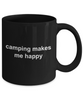 Camper Gift Camping Makes Me Happy Black CeramicCoffee Mug