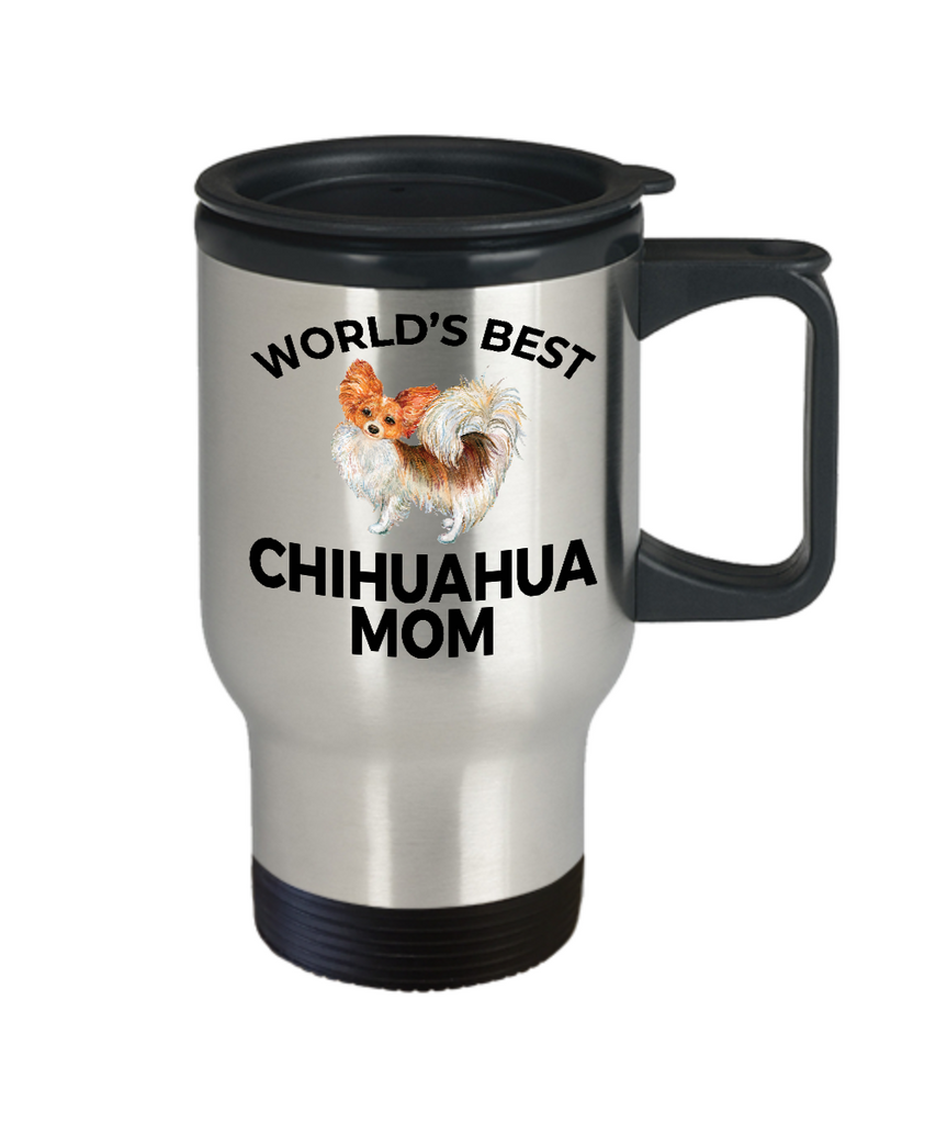 Chihuahua Long Haired Dog Lover Gift Word's Best Mom Birthday Mother's Day Present Stainless Steel Travel Coffee Tea Mug