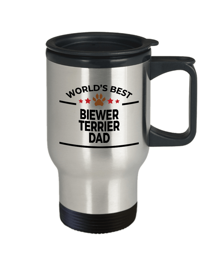 Biewer Terrier Dog Lover Gift World's Best Dad Birthday Father's Day Stainless Steel Insulated Travel Coffee Mug