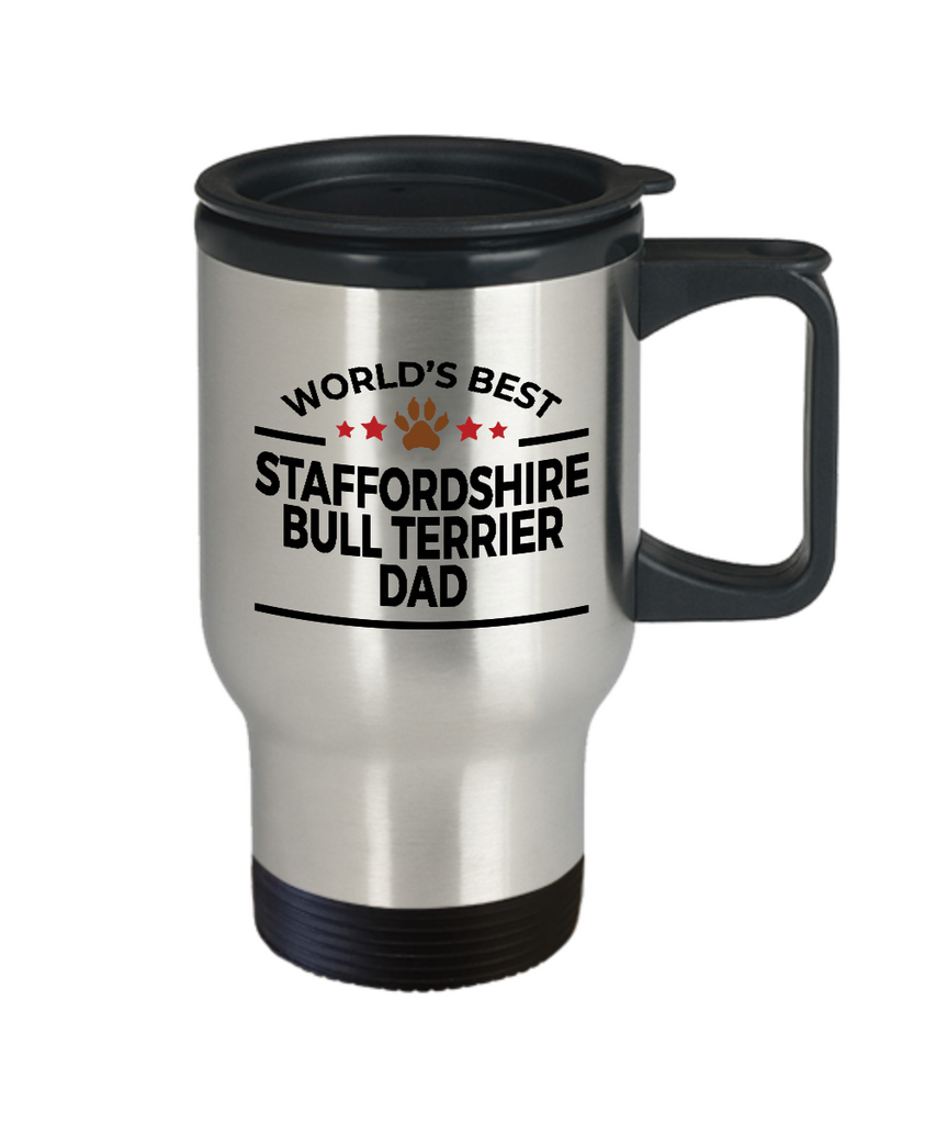 Staffordshire Bull Terrier Dog Lover Gift World's Best Dad Birthday Father's Day Stainless Steel Insulated Travel Coffee Mug
