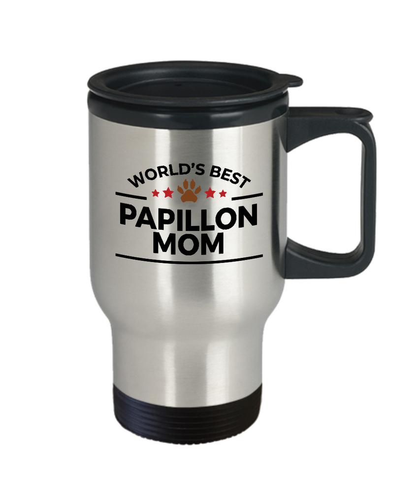 Papillon Dog Lover Gift World's Best Mom Birthday Mother's Day Stainless Steel Insulated Travel Coffee Mug